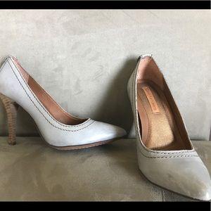 "Calvin Klein ""Maiya"" grey leather pumps size 7"